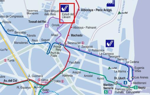 Metro Valencia horarios especiales Liga futbol Levante Valencia