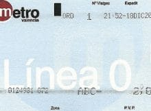 Metro Valencia línea 0 billete antiguo